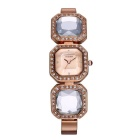 WeiQin Women's Acrylic Crystal Bracelet Quartz Watch - Rose Gold