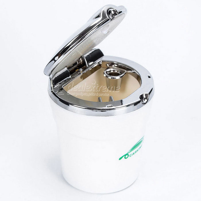 CARKING Car Ash Tray Ashtray w/ LED Light - White + Silver