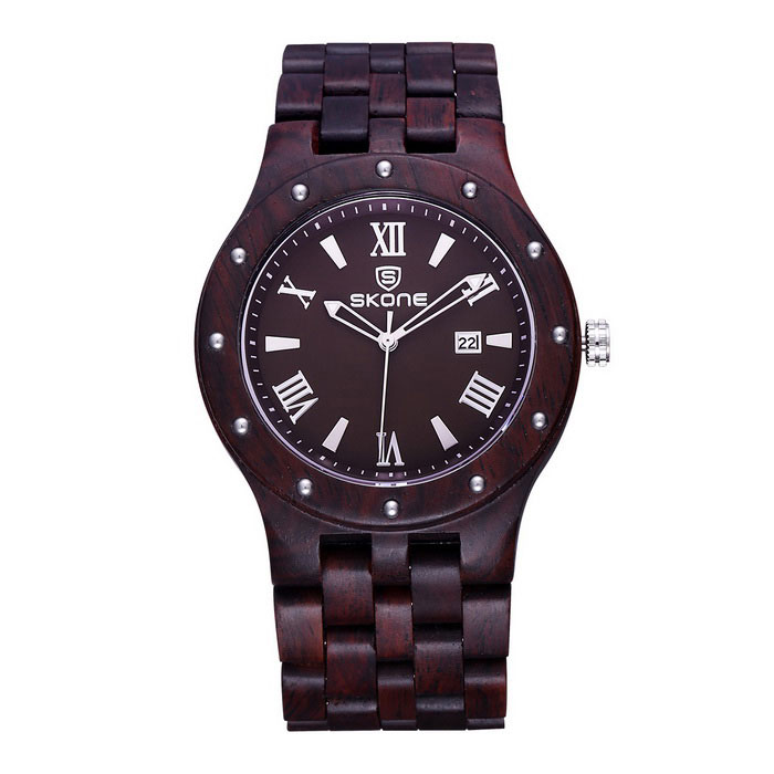 SKONE Ebony Men's Quartz Wrist Watch with Calendar - Dark Coffee