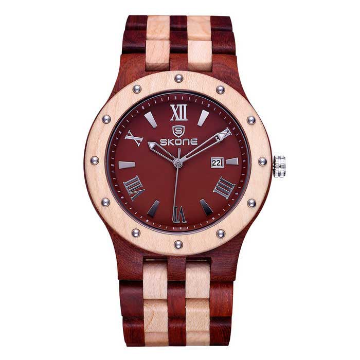 SKONE Red Sandalwood Men's Quartz Wrist Watch with Calendar