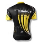 Spakct Impresso Ciclismo curto Jersey Top Shirt - Black + Amarelo (XL)