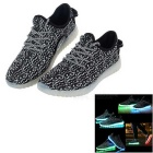 USB Rechargeable LED Colorful Light Shoes - Black (Size 42 / Pair)