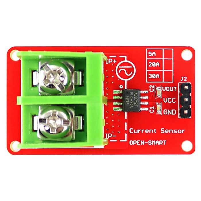 OPEN-SMART High Quality ACS712 30A Current Sensor Module for ArduinoSensors<br>Form ColorRed + GreenModelN/AQuantity1 DX.PCM.Model.AttributeModel.UnitMaterialPCB + Alloy + PlasticApplicationIt can detect AC or DC current, and range is +/- 30AWorking Voltage   4.5~5.5 DX.PCM.Model.AttributeModel.UnitEnglish Manual / SpecYesDownload Link   http://drive.google.com/folderview?id=0B6uNNXJ2z4CxdWhuNm9idFc1R2c&amp;usp=sharingPacking List1*Module<br>