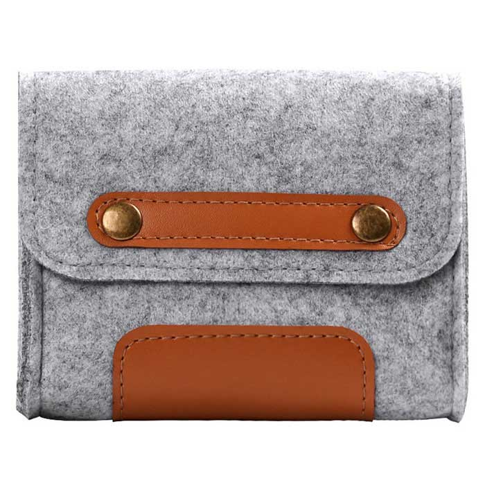 Retro Style Wool Felt Accessory Bag for Mouse / Power Cable - Grey