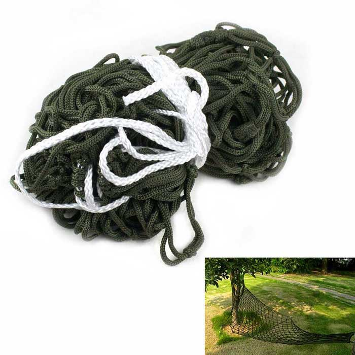 Casual Outdoor Camping Nylon Rope Hammock - Army Green + SilverSleeping Bags<br>Form  ColorArmy Green + Silver + Multi-ColoredQuantity1 DX.PCM.Model.AttributeModel.UnitMaterialStainless steel + nylon threadBest UseMountaineeringTypeHammocksPacking List1*Hammock2*Ropes1*Cloth bag<br>
