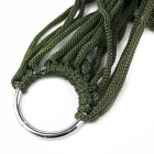 Casual Outdoor Camping Nylon Rope Hammock - Army Green + Silver
