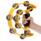 Hand Held Double Row Tambourine Handbell - Yellow + Silver
