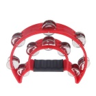 Hand Held Double Row Tambourine Handbell - Red + Silver
