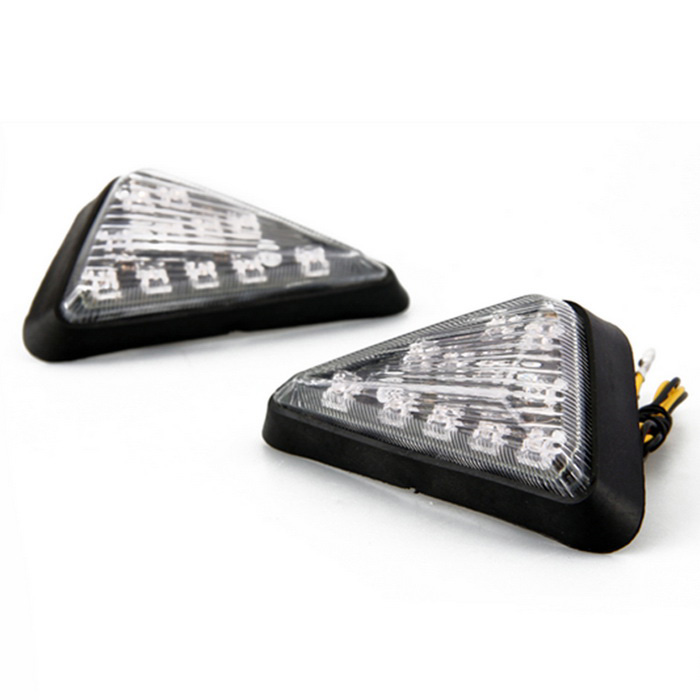 Qook 11-LED Yellow Light Triangular Motorcycle Turn Signal Lamp (2PCS)