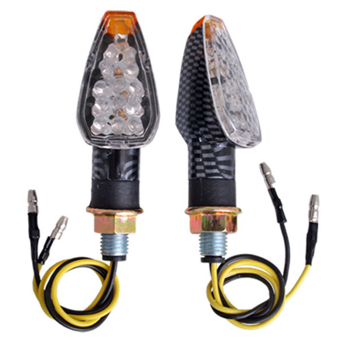 Qook 14-LED Yellow Motorcycle Turn Signal Lights Indicators (12V/2PCS)