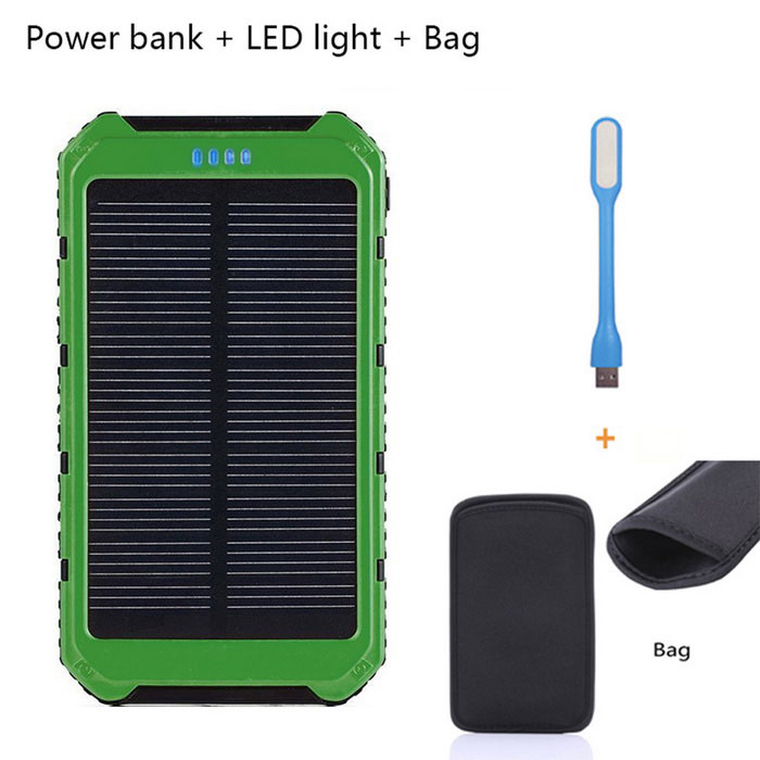 SUNGZU Solar Powered Battery Charger Power Bank - Army Green