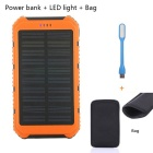 "SUNGZU Dual USB ""10000mAh"" Solar Mobile Power Bank + LED + saco de armazenamento"
