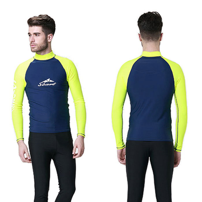 Sbart Men's Scuba Snorkel Diving Surfing Wetsuit - Blue + Yellow (XXL)