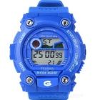 Sports Quartz Digital Wrist Watch w/ Colorful Backlight - Blue