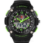 Analog + Digital Sports Quartz Resin Band Wrist Watch - Black + Green