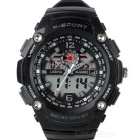 Water Resistant Analog + Digital Display Sports Wrist Watch - Black