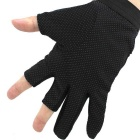Fishing Antiskid Waterproof Three-Finger Gloves - Black + White (Pair)
