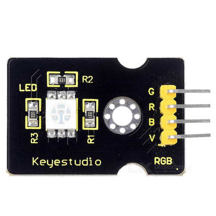 Keyestudio TS-24 RGB LED Module - Black + YellowSensors<br>Form  ColorBlack + YellowModelTS-24Quantity1 setMaterialFR4ApplicationArduino scientific researchWorking Voltage   5 VEnglish Manual / SpecNoDownload Link   http://www.keyestudio.cc/h-nd-62-0_35.html?skeyword=KS0032Other FeaturesColor: red, green and blue; Brightness: High; Voltage: 5V; Input: digital levelPacking List1 * RGB LED module<br>