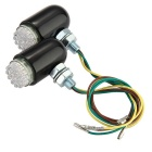 Qook 24-F5 Yellow Motorbike LED Turn Signal Indicator - Black (2PCS)