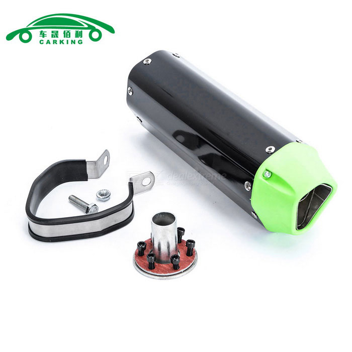 CARKING Motorcycle Racing Muffler Exhaust Pipe - Black + GreenOthers<br>ModelN/AQuantity1 DX.PCM.Model.AttributeModel.UnitMaterialMetalForm  ColorBlack + GreenShade Of ColorBlackCompatible TypeUniversalCompatible MakeUniversalCompatible Brand &amp; YearUniversalPacking List1 * Muffler1 * Interface1 * Clamp1 * Welding port screw6 * Interface screws<br>