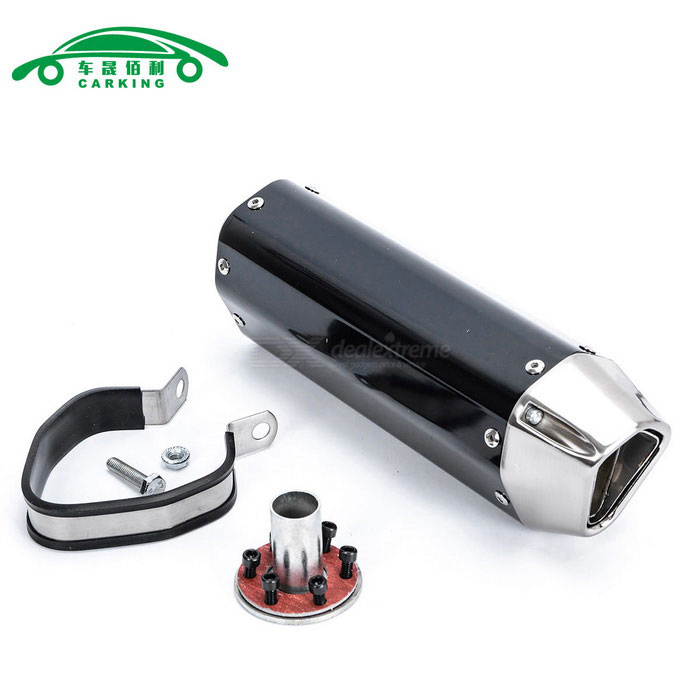 CARKING Motorcycle Modification Racing Muffler Exhaust Pipe - BlackOthers<br>ModelN/AQuantity1 DX.PCM.Model.AttributeModel.UnitMaterialMetalForm  ColorBlackShade Of ColorBlackCompatible TypeUniversalCompatible MakeUniversalCompatible Brand &amp; YearUniversalPacking List1 * Muffler1 * Interface1 * Clamp1 * Welding port screw6 * Interface screws<br>