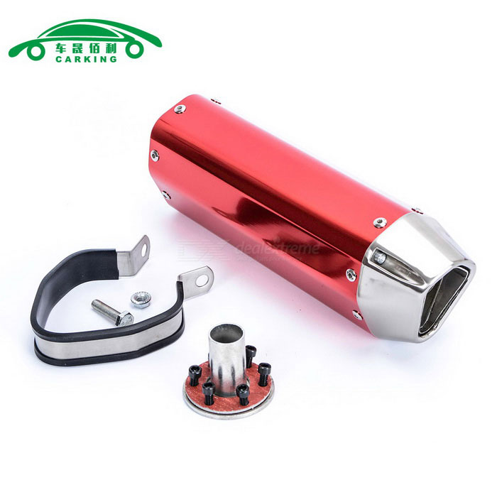 CARKING Iron Head Motorcycle Racing Muffler Exhaust Pipe - RedOthers<br>ModelN/AQuantity1 DX.PCM.Model.AttributeModel.UnitMaterialMetalForm  ColorRedShade Of ColorRedCompatible TypeUniversalCompatible MakeUniversalCompatible Brand &amp; YearUniversalPacking List1 * Muffler1 * Interface1 * Clamp1 * Welding port screw6 * Interface screws<br>