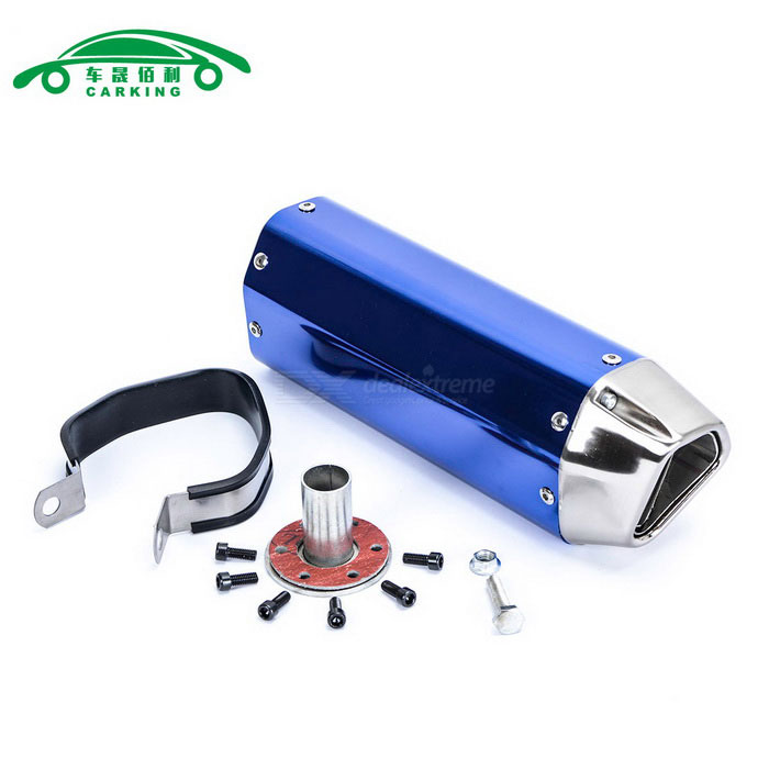 CARKING Iron Head Motorcycle Racing Muffler Exhaust Pipe - BlueOthers<br>ModelN/AQuantity1 DX.PCM.Model.AttributeModel.UnitMaterialMetalForm  ColorBlueShade Of ColorBlueCompatible TypeUniversalCompatible MakeUniversalCompatible Brand &amp; YearUniversalPacking List1 * Muffler1 * Interface1 * Clamp1 * Welding port screw6 * Interface screws<br>