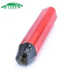 CARKING Carbon Grain Motorcycle Racing Muffler Exhaust Pipe - Red