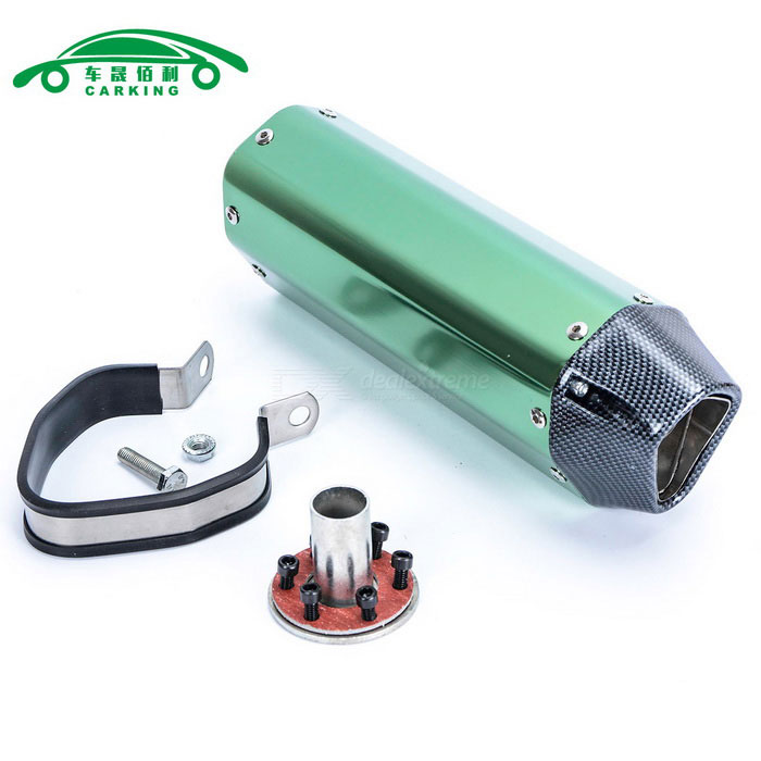 CARKING Carbon Grain Motorcycle Racing Muffler Exhaust Pipe - GreenOthers<br>ModelN/AQuantity1 DX.PCM.Model.AttributeModel.UnitMaterialMetalForm  ColorGreenShade Of ColorGreenCompatible TypeUniversalCompatible MakeUniversalCompatible Brand &amp; YearUniversalPacking List1 * Muffler1 * Interface1 * Clamp1 * Welding port screw6 * Interface screws<br>