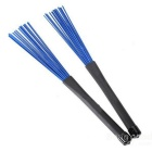 Retractable Rubber Handle Jazz Drum Brushes - Blue + Black (Pair)