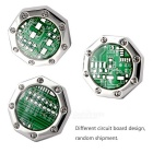 Octagonal Circuit Board Style Brass Cufflinks - Silver + Green (2PCS)