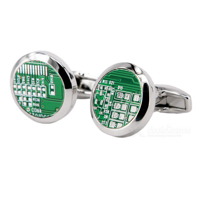 Jewelry Brass Material Round PCB Design Cufflinks - Silver + Green