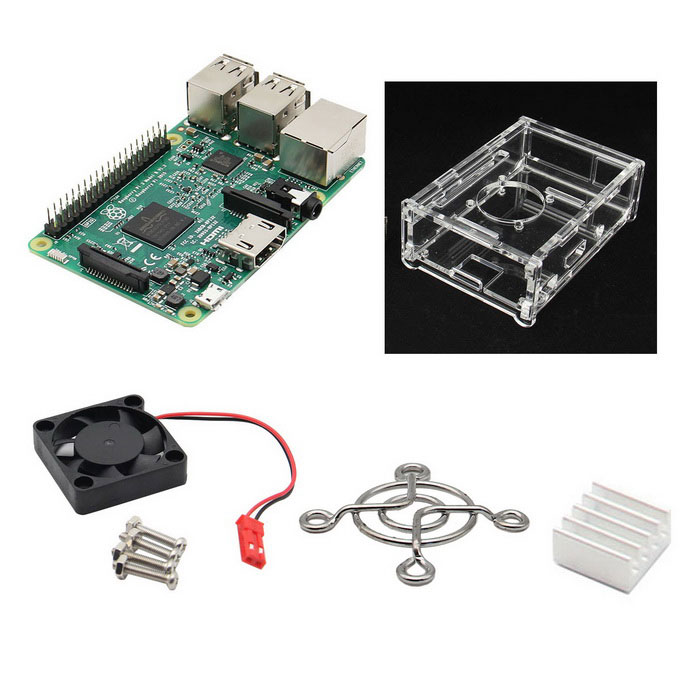 4-in-1 Raspberry Pi 3 Modèle Kit B + V31 + Acrylique Case Fan + Dissipateur