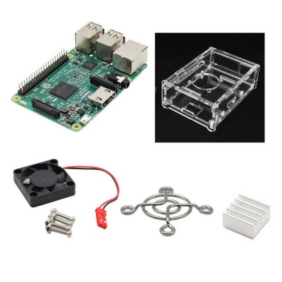 4-in-1 Raspberry Pi 3 Model B +V31 Acrylic Case + Fan + Heatsink Kit