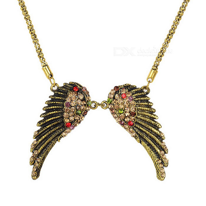 Angel Wings Style Pendant Diamond Inlaid Decorative Necklace - BrassNecklaces<br>Form ColorBrassQuantity1 DX.PCM.Model.AttributeModel.UnitShade Of ColorGoldGenderWomenSuitable forOthers,Both adults and kidsChain MaterialZinc alloyPendant MaterialZinc alloyChain Length77 DX.PCM.Model.AttributeModel.UnitChain Width0.3 DX.PCM.Model.AttributeModel.UnitPacking List1*Necklace<br>