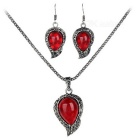 Decorative Zinc Alloy Necklace + Plastic Pendant Earrings Accessory for Daily Wear