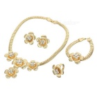 Women's Necklace + Earrings + Finger Ring + Bracelet Set - Golden