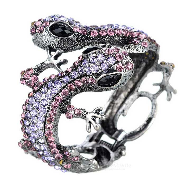 Women's Novel Gecko Design Bracelet - Silver + Black