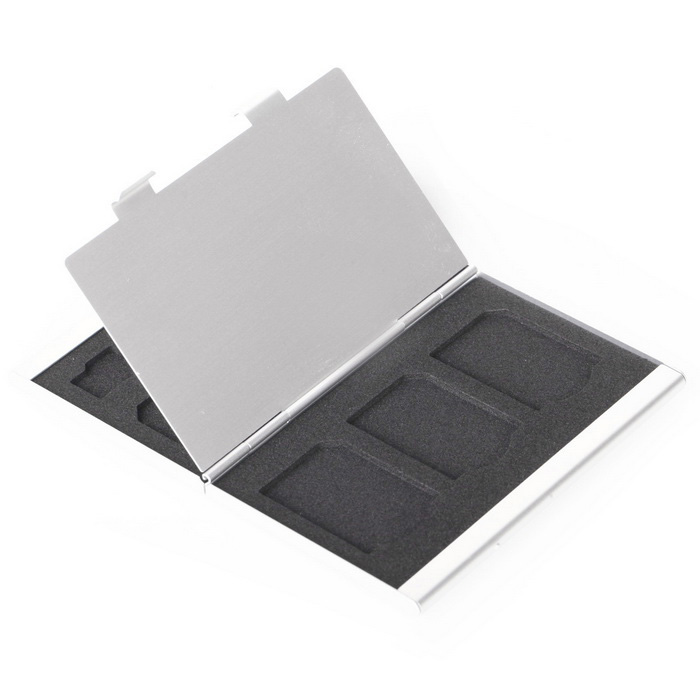 Double Deck Aluminum 8 TF+ 4 SD Memory Cards Storage Box - Silver