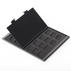 Portable Aluminum 24 TF Memory Cards Storage Box Case - Black