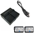 ismartdigi FW50 Digital Camera Batteries + Dual Charger - Black