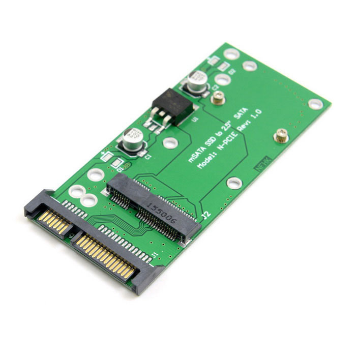 "CY SA-074 50mm 3.3V mSATA SSD to 2.5"" SATA 22pin Adapter PCBA - Green"