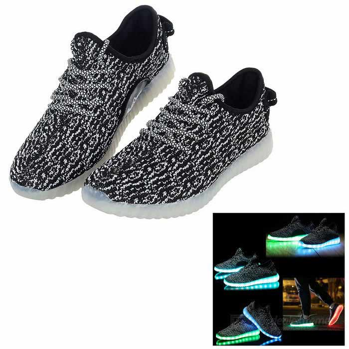 USB Rechargeable LED Colorful Light Shoes - Black (Size 43 / Pair)Bike Shoes<br>Form  ColorWhite + Black + Multi-ColoredSize43Quantity2 DX.PCM.Model.AttributeModel.UnitMaterialMicrofiber leather imported from New ZealandShade Of ColorGrayGenderUnisexBest UseCycling,Recreational Cycling,Others,Mountaineering, fishing, night outdoor activitiesSuitable forAdultsCertificationCEPacking List1*Pair of Shoes1*USB cable<br>