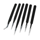 Corrosion Resistant Precise Anti-static Tweezers - Black (6 PCS)