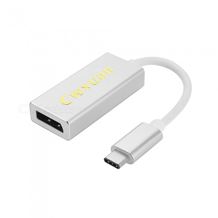 Cwxuan USB 3.1 Type C M to DisplayPort F Adapter Cable - White (15cm)