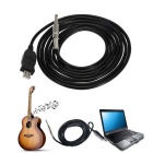 Guitar Bass 1/4 '' 6,3 mm til USB-tilkobling adapter kabel - svart (3M)