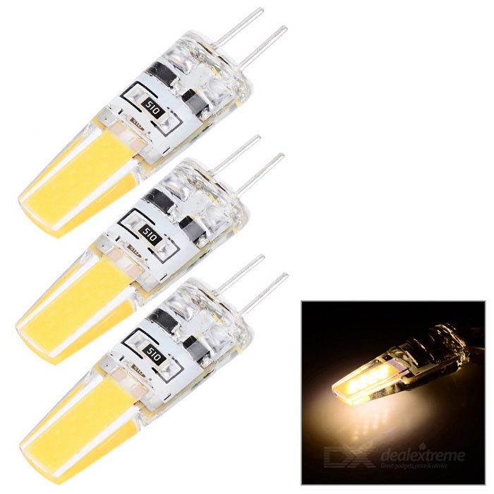 JRLED G4 2W Warm White Light LED Bulb - White + Yellow (DC 12V, 3 PCS)