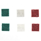 5mm Puzzle Magnetic Beads - Red + Silver + Green (216 PCS)