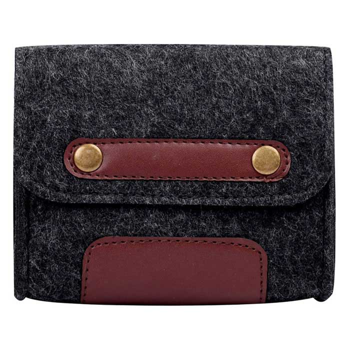 Retro Style Wool Felt Accessory Bag for Mouse / Power Cable - Black