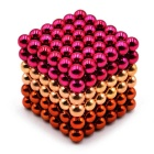 5mm Puzzle Magnetic Beads - Orange + Yellow + Deep Pink (216 PCS)